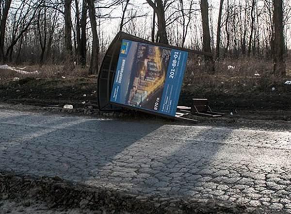 Ветер снес остановку вСуворовском микрорайоне Ростова